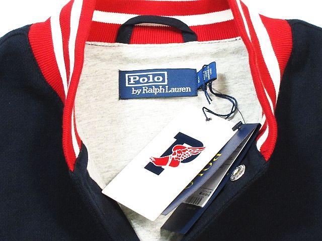未使用品 ポロ バイ ラルフローレン Polo by Ralph Lauren 1992 pwing スタジャン ブルゾン ジャケット スウェット ロゴ ワッペン リブ ネイビー 赤 size L 秋冬 メンズ