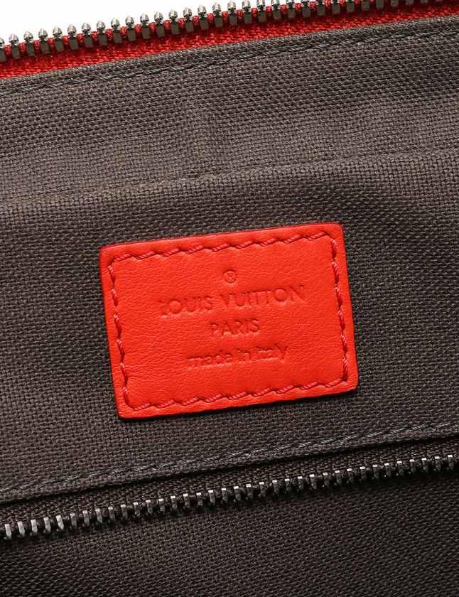 ルイヴィトン LOUIS VUITTON ブリーフケース ダミエ アンフィニ 赤 フュージョン レザー N41143 ポルトドキュマン ヴォワヤージュ レディース