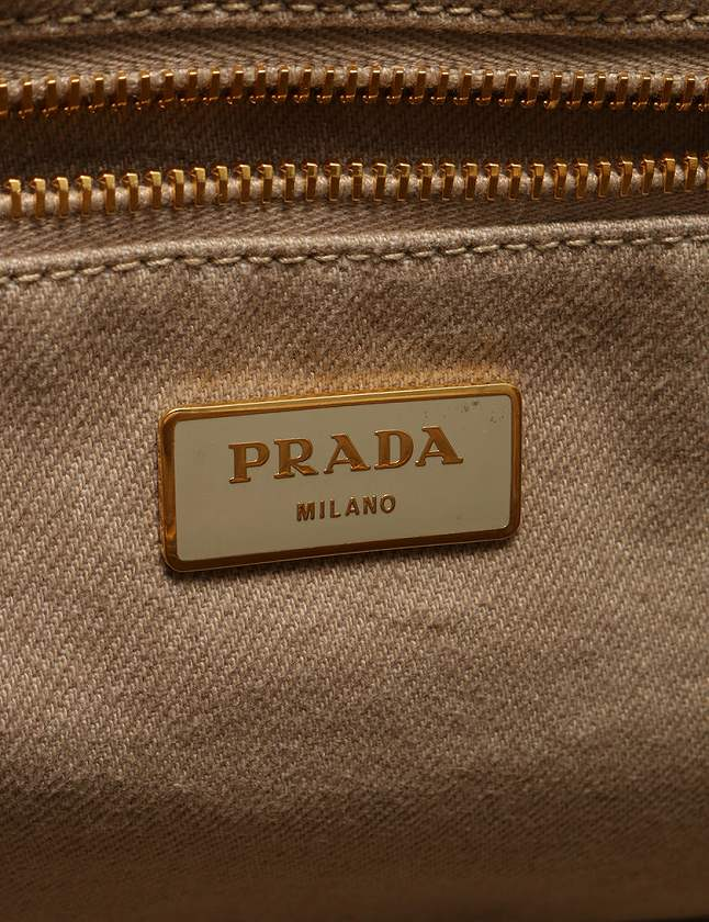 b7348996c484 ... プラダ PRADA カナパ トートバッグ デニム ベージュ B1877B ギャラ付き レディース ...
