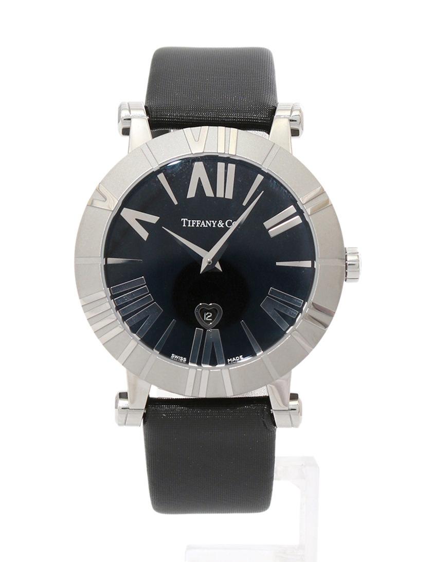 timeless design e1406 f1e30 ティファニー TIFFANY & CO. アトラス 腕時計 シルバー 黒 ブラック クオーツ SS レザー サファイアクリスタルガラス  Z1301.11.11A10A41A 説明書付き レディース