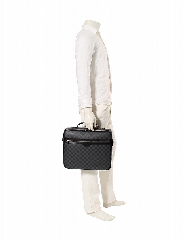 ルイヴィトン LOUIS VUITTON ビジネスバッグ スティーブ ダミエ グラフィット 黒 ブラック レザー N58030 保存袋付き メンズ
