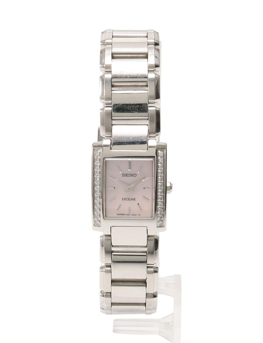 competitive price bdf02 4019a セイコー SEIKO エクセリーヌ 腕時計 シルバー ピンク クオーツ SS サファイヤガラス ダイヤベゼル 1F20-0AD0 レディース