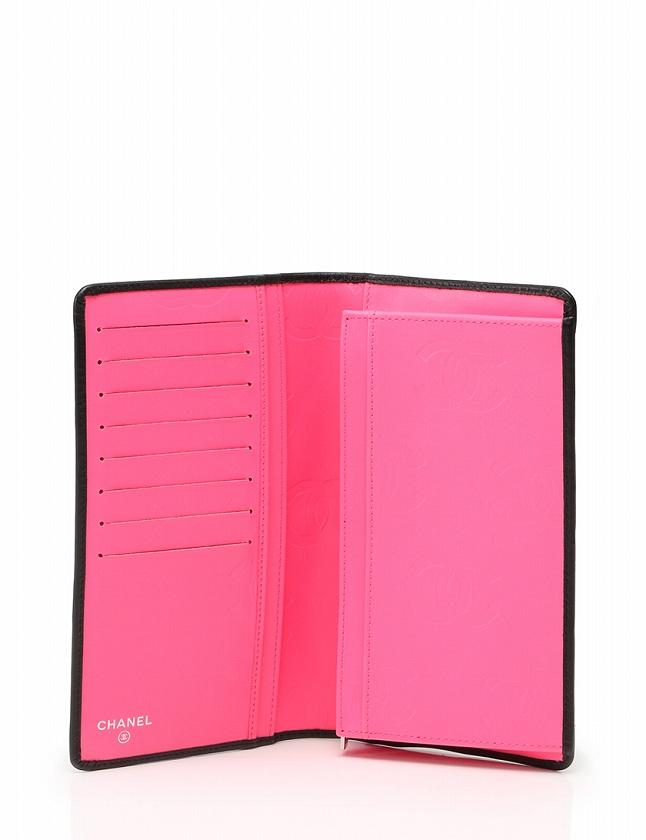 0388552c7faf ... シャネル CHANEL カンボンライン 長財布 二つ折り 黒 ブラック ピンク 小物 レザー ギャラ付き レディース