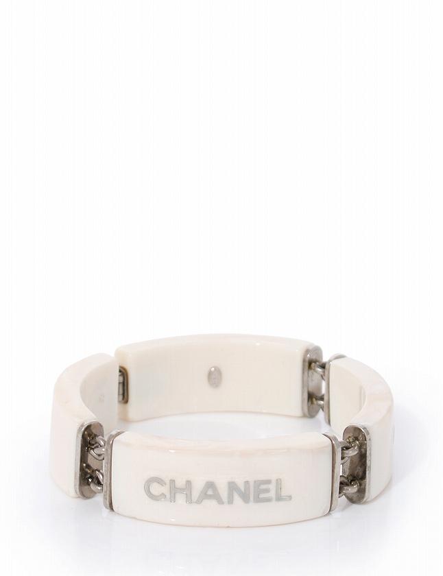 9ef5d5b4be7a シャネル CHANEL ブレスレット 白 ホワイト グレー 99A アクセサリー プラスチック レディース