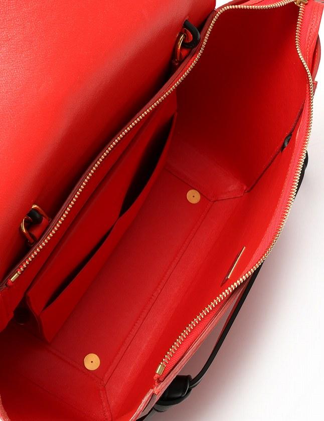 2f1b38c53ebd セリーヌ CELINE ハンドバッグ ショルダーバッグ ベルトミニ 赤 白 黒 レザー 176103YVD26VI 無地 保存袋付き ...