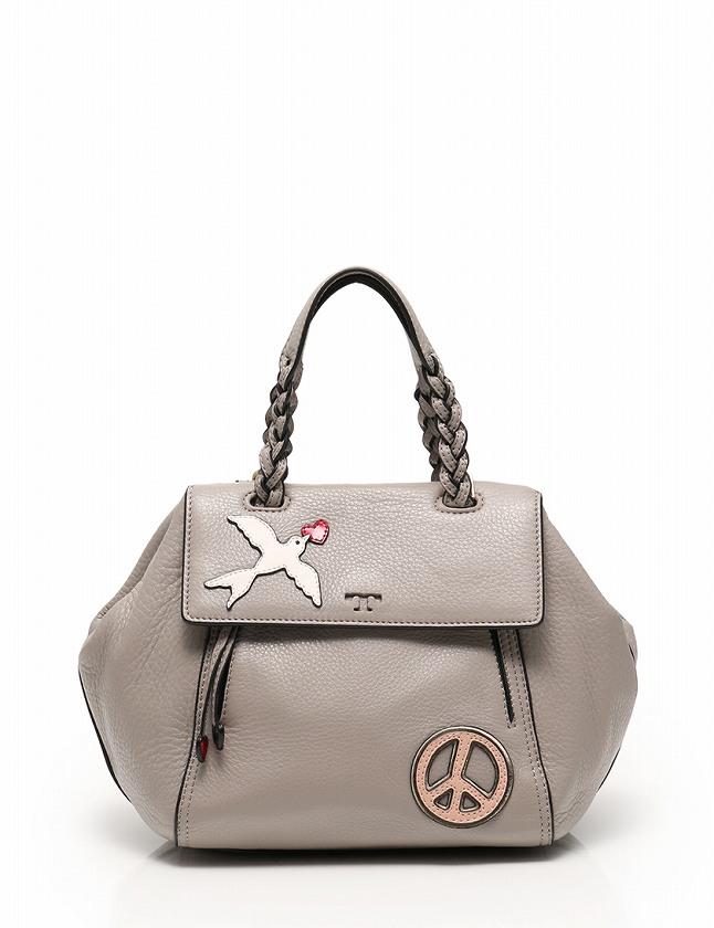 f696f5432ac9ae トリーバーチ TORY BURCH ハンドバッグ ショルダーバッグ グレー 白 赤 レザー PEACE & LOVE コレクション 保存袋付き  2WAY レディース