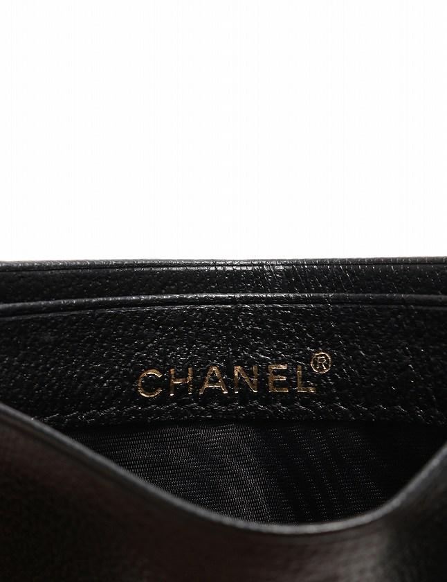 シャネル CHANEL カードケース パスケース ココマーク 黒 ブラック ゴールド 小物 レザー シリアル付き レディース