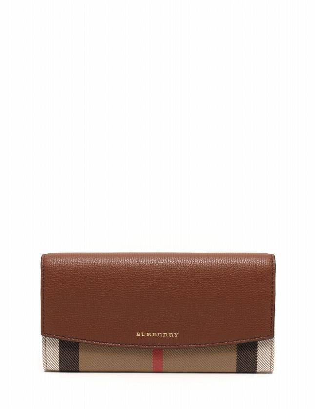 on sale b954b 83000 バーバリー BURBERRY 長財布 二つ折り 茶色 ベージュ 小物 チェック柄 レザー キャンバス レディース