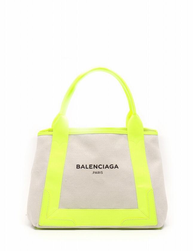 brand new 5b0ea fc246 バレンシアガ BALENCIAGA トートバッグ ハンドバッグ ネイビーカバス S ベージュ ジューンソレイユイエロー 黄色 キャンバス レザー  339933 保存袋 ポーチ付き レディース
