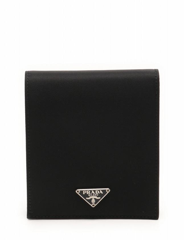 2ce4c9106407 プラダ PRADA 財布 札入れ 二つ折り 黒 ブラック 小物 ナイロン M114 箱付き メンズ レディース