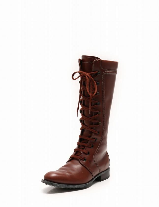 b4b69c8389c527 トッズ TOD'S ロングブーツ レースアップ 茶色 ブラウン 22.5cm シューズ 35.5 レザー 箱 保存袋 靴ひも付き レディース