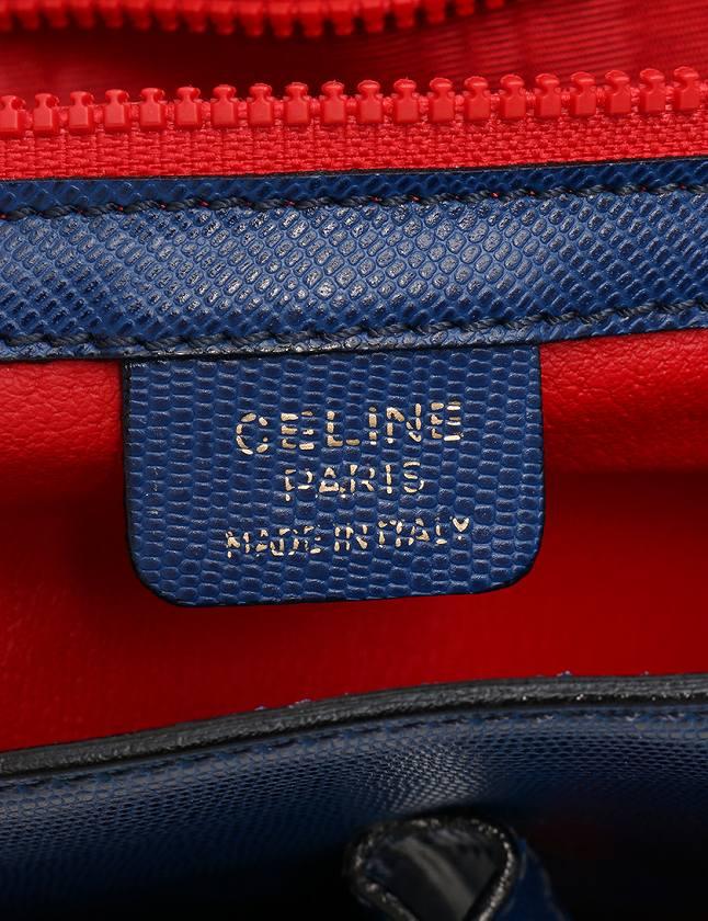 586d63724ca2 ... セリーヌ CELINE ショルダーバッグ ハンドバッグ ヴィンテージ 青 ブルー ロゴサークル レザー 2WAY レディース ...
