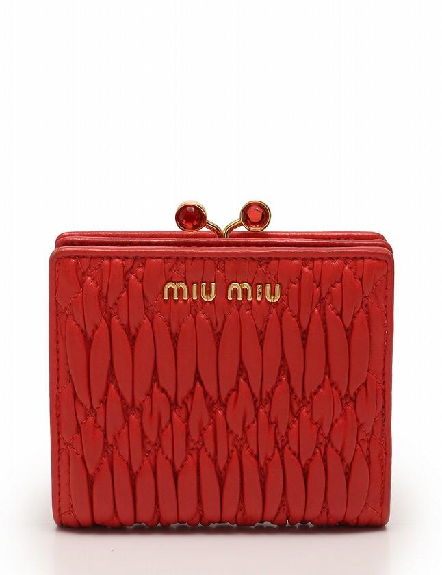 finest selection 03951 e762f ミュウミュウ miumiu 財布 二つ折り マテラッセ オレンジ 小物 レザー がま口 5M1324 箱 ギャラ付き レディース