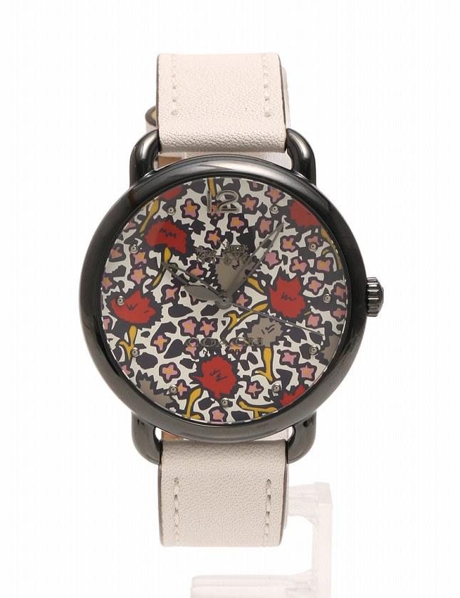 29b3a2502425 コーチ COACH 腕時計 デランシー フローラルダイヤル ガンメタル 黒 チョーク 白 花柄 クオーツ イオンプレート レザー ミネラルクリスタル  W6212 箱付き レディース