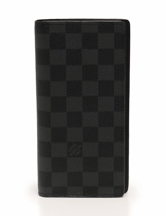 lowest price b096b f168b ルイヴィトン LOUIS VUITTON 長財布 ポルトフォイユ ブラザ 二つ折り ダミエ グラフィット 黒 ブラック 小物 PVC レザー  N62665 保存袋付き メンズ
