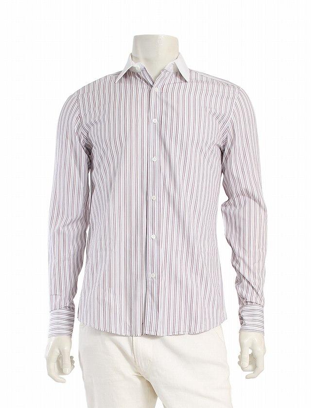 303ab664fc25 グッチ GUCCI ワイシャツ Yシャツ ドレスシャツ 白 グレー エンジ S トップス 長袖 ストライプ 39 コットン100% 綿  スペアボタン付き メンズ
