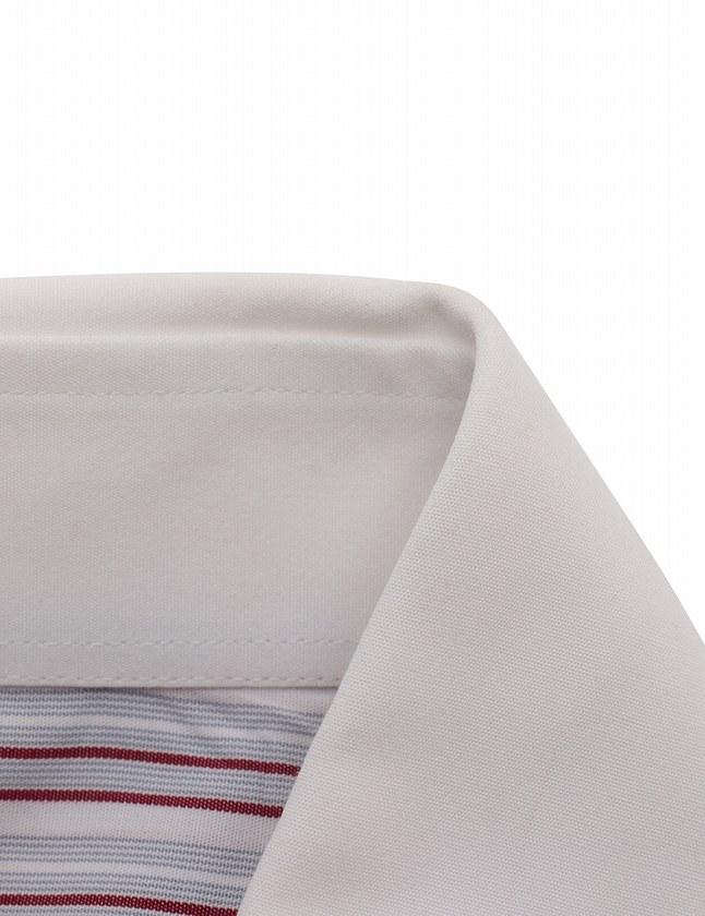 cddd08082cae グッチ GUCCI ワイシャツ Yシャツ ドレスシャツ 白 グレー エンジ S トップス 長袖 ストライプ 39 コットン