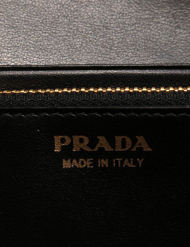 プラダ PRADA 長財布 黒 ブラック ゴールド 小物 ナイロン レザー 1MH037 箱 パスケース ギャラ付き レディース