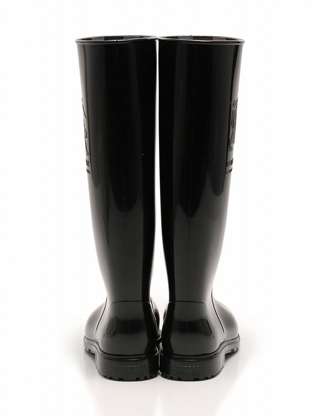 バーバリープローサムコレクション BURBERRY PRORSUM COLLECTION レインブーツ 長靴 ロング 黒 ブラック 24cm シューズ 37 ラバー 3534041 箱付き レディース
