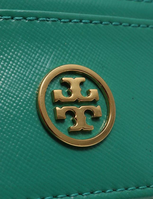 トリーバーチ TORY BURCH カードケース パスケース エメラルドグリーン 黄緑 ゴールド 小物 エナメル 41119006 レディース