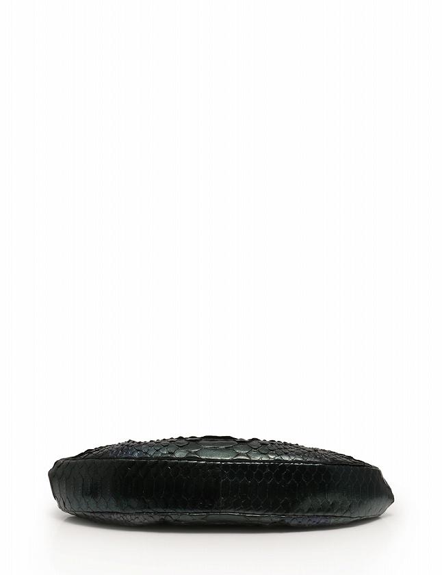 シャネル CHANEL ハンドバッグ ショルダーバッグ 緑 青 グレー シルバー グラデーション パイソン ガマ口 保存袋 ギャラ付き レディース