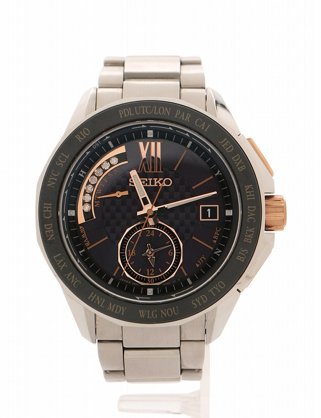 size 40 464b4 1b90d セイコー SEIKO 腕時計 ブライツ シルバー 黒 ステンレススチール 8B54-0AX0 箱 ケース 取扱説明書付き メンズ