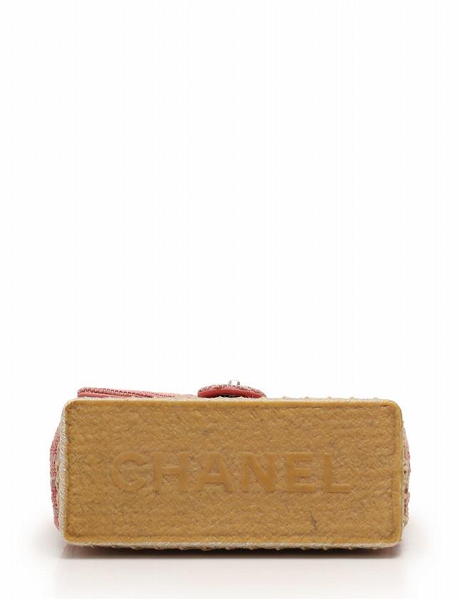 シャネル CHANEL ショルダーバッグ マトラッセステッチ ココマーク Wチェーン ピンク ベージュ シルバー レザー ボーダー キャンバス ラバー ギャラ付き レディース