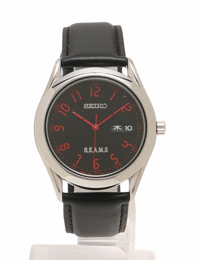 big sale 8b34c 26368 セイコー SEIKO 腕時計 黒 ブラック シルバー 赤 クオーツ SS レザー ガラス BEAMSビームスコラボ デジタルフォント  7N43-9080 ケース 取扱説明書付き メンズ