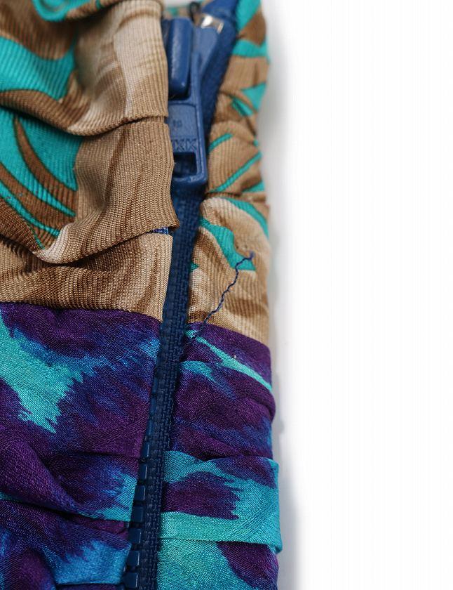 サルヴァトーレフェラガモ Salvatore Ferragamo ベアトップ チューブトップ ビスチェ 青 ブルー 水色 紫 S トップス 総柄 38 シルク100% リボン レディース