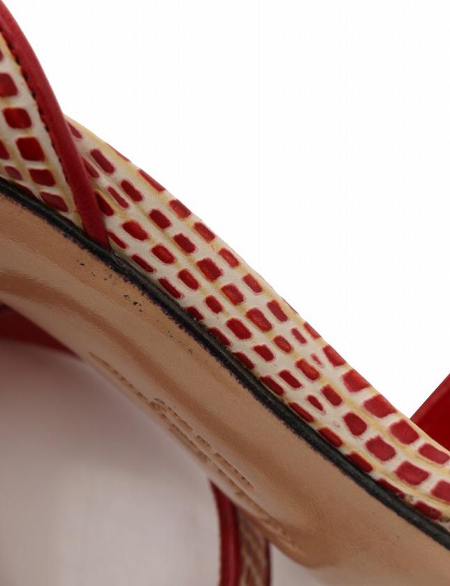 サルヴァトーレフェラガモ Salvatore Ferragamo サンダル ヒール ガンチーニ 赤 ベージュ 23cm シューズ ストラップ 6 レザー 保存袋付き レディース