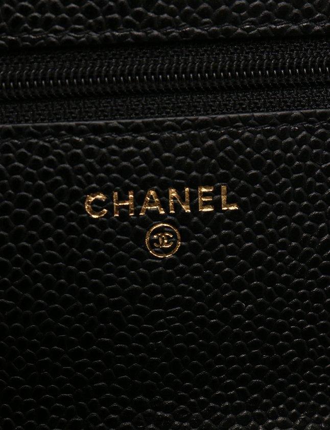 シャネル CHANEL ショルダーバッグ チェーンウォレット 財布 マトラッセ ココマーク 黒 ブラック ゴールド 小物 キャビアスキン A33814 箱 保存袋 ギャラ付き レディース
