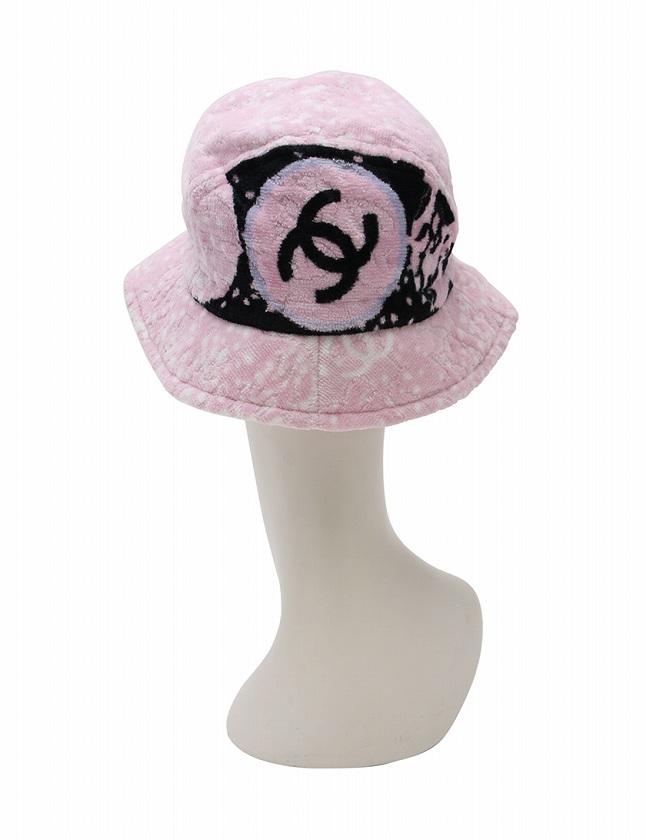 469708a40468 ... シャネル CHANEL 帽子 ハット クロッシェ ココマーク パイル ピンク 黒 小物 コットン100% 綿 レディース ...