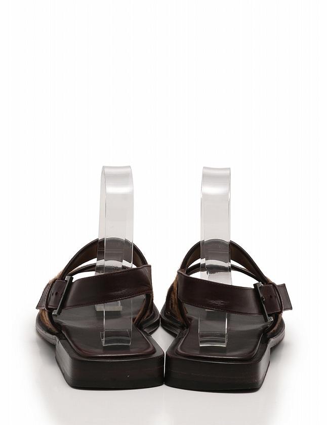 ルイヴィトン LOUIS VUITTON サンダル ダミエ ソバージュ 茶色 ブラウン 26cm シューズ ストラップ 7 ハラコ レザー 箱 保存袋付き メンズ