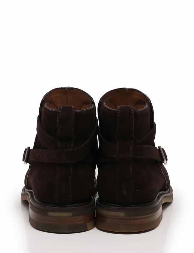 サルヴァトーレフェラガモ Salvatore Ferragamo ショートブーツ トラメッザ ダークブラウン 茶色 28.5cm シューズ 10.5 スエード TRAMEZZA 箱 保存袋付き メンズ