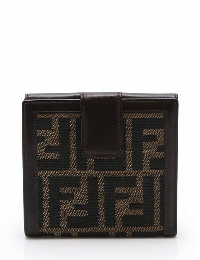 b401c669f22a フェンディ FENDI 財布 二つ折り Wホック ズッカ 茶色 カーキ 黒 小物 キャンバス レザー 01695 レディース