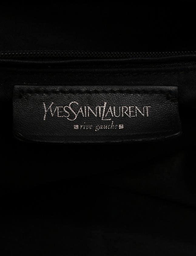 イヴサンローランリヴゴーシュ YVES SAINT LAURENT rive gauche ボストンバッグ イージー 黒 ブラック エナメルレザー 208314 メンズ レディース