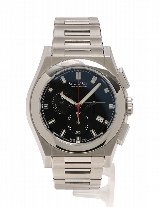 グッチ GUCCI 腕時計 パンテオン シルバー 黒文字盤 クオーツ SS YA115235 箱 取扱説明書付き メンズ