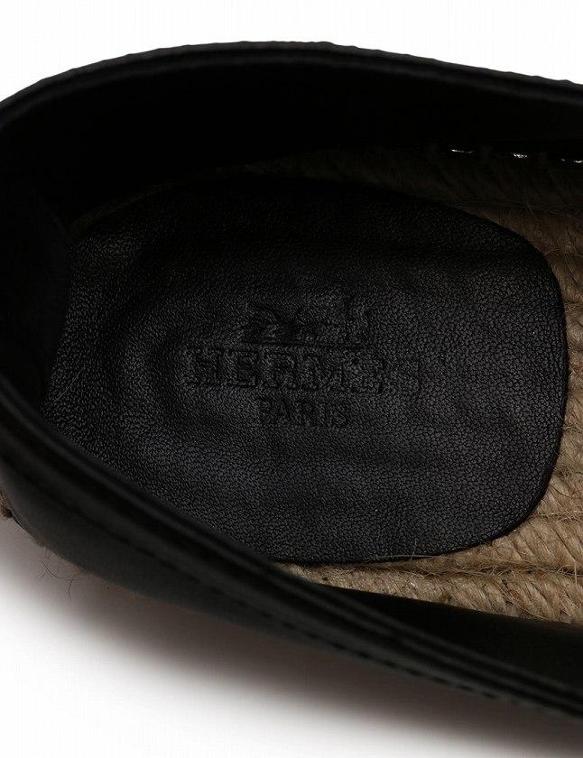 エルメス HERMES エスパドリーユ フラットシューズ 黒 ブラック ベージュ 24.5cm シューズ 39 レザー アンクルストラップ 箱付き レディース