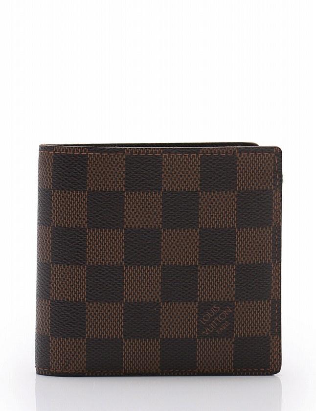 5977315a6de5 ルイヴィトン LOUIS VUITTON 財布 二つ折り ポルトフォイユ マルコ ダミエ エベヌ 茶色 ブラウン 小物 PVC レザー N61675  メンズ