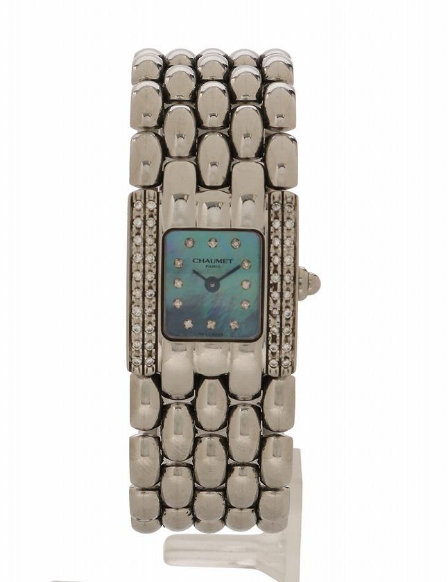 ショーメ CHAUMET 腕時計 ケイシス 2重サイドダイヤベゼル 12Pダイヤインデックス シルバー クオーツ SS シェル ケース付き レディース