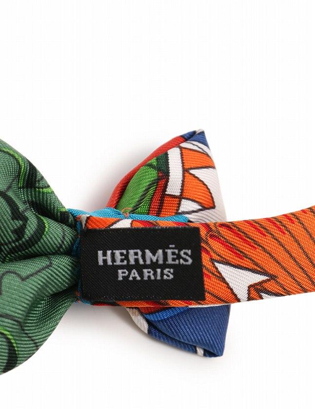 エルメス HERMES 蝶ネクタイ ボウタイ オレンジ 青 緑 マルチカラー 小物 シルク100% 箱付き メンズ