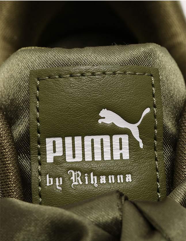 プーマ PUMA スニーカー ローカット カーキ 緑 シューズ 23.5 サテン リボン FENTY by Rihanna BOW SNEAKER 365054 04 保存袋付き レディース