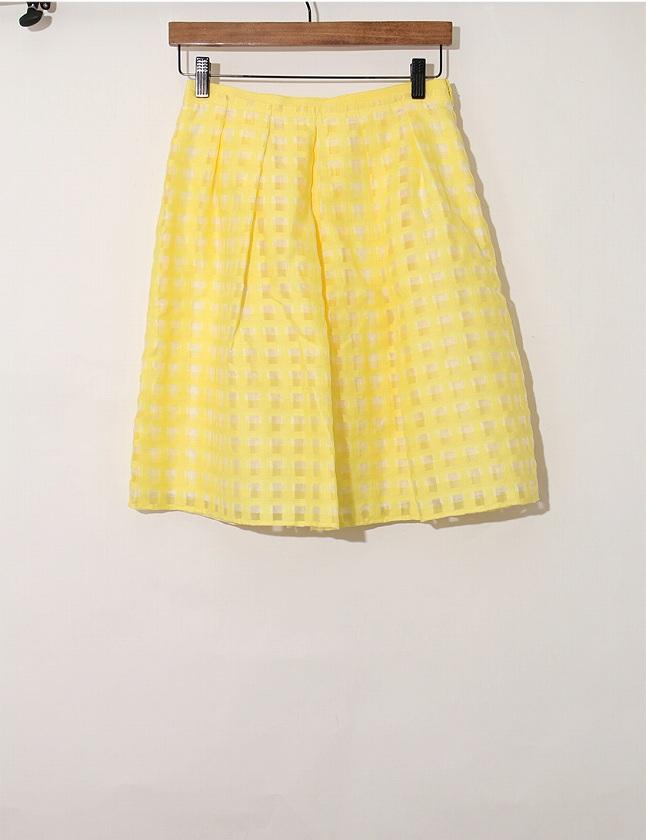 アナイ ANAYI スカート 黄色 イエロー M ボトムス ひざ丈 フレア チェック柄 38 コットン 綿 ナイロン サイドジップ レディース