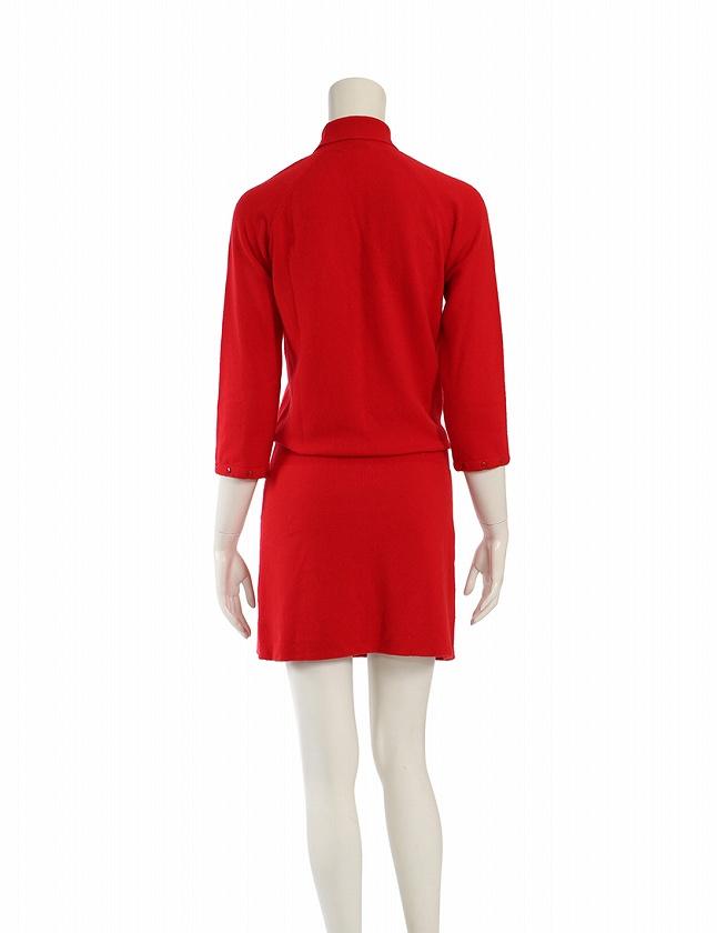 ルイヴィトン LOUIS VUITTON ワンピース ニット 赤 レッド 七分袖 ミニ丈 無地 L カシミヤ100% 手袋付き レディース