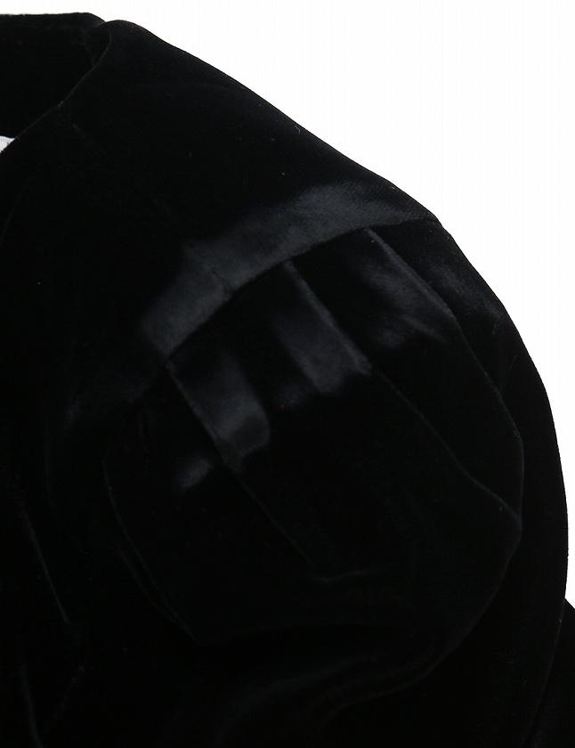 フォクシー FOXEY ワンピース ベロア 黒 ブラック 半袖 ミニ丈 無地 40 M レーヨン レディース