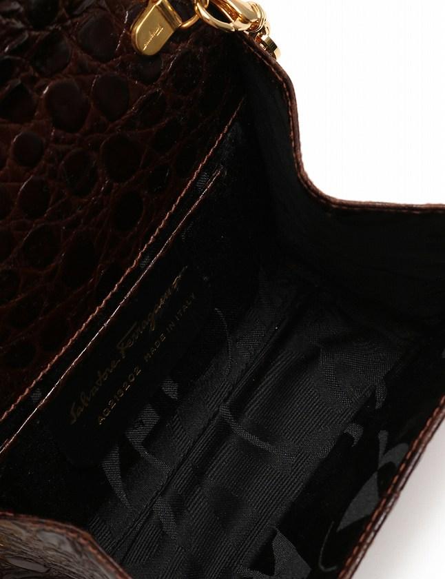サルヴァトーレフェラガモ Salvatore Ferragamo ショルダーバッグ ポシェット ヴァラ チェーン ダークブラウン 茶色 ゴールド レザー 箱 保存袋付き レディース