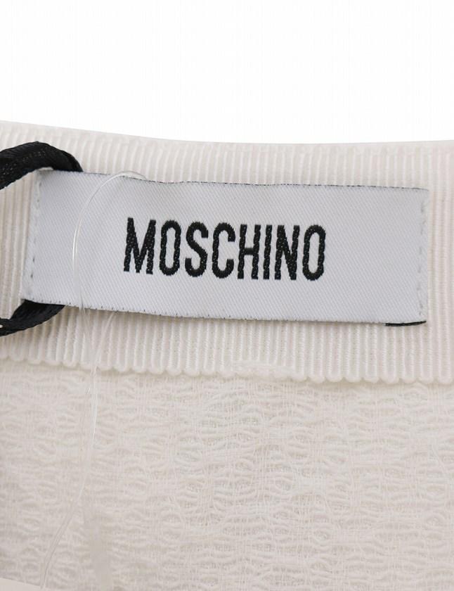 モスキーノ MOSCHINO スカート 白 ホワイト M ボトムス ひざ丈 フレア 無地 40 コットン 綿 レーヨン レディース