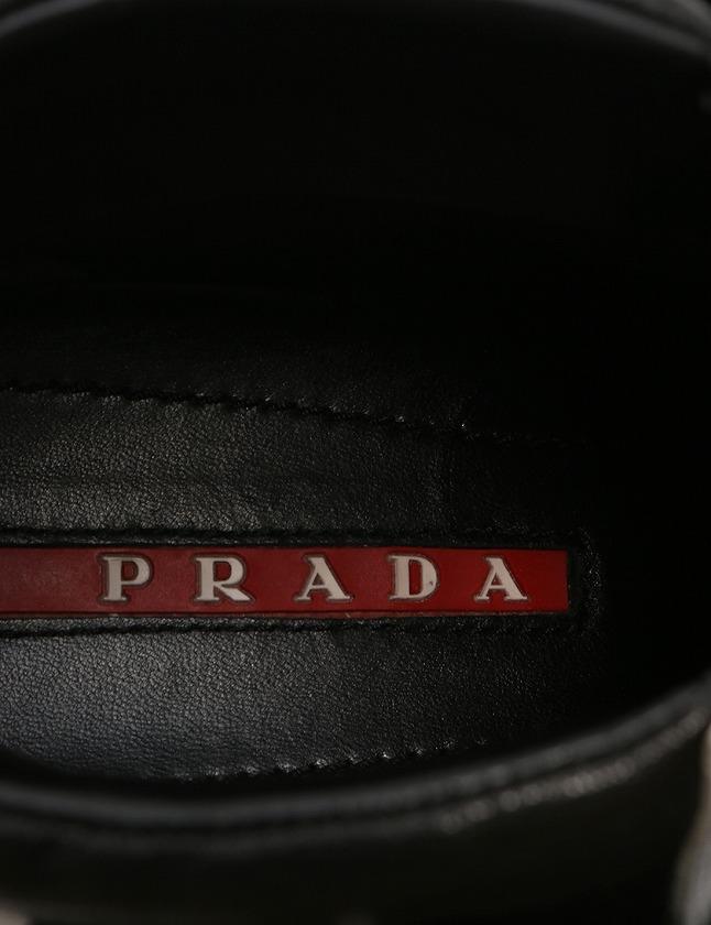 プラダスポーツ PRADA SPORT スニーカー ハイカット ベルクロ 白 ホワイト 黒 23cm シューズ 36 レザー 3T5743 箱付き レディース