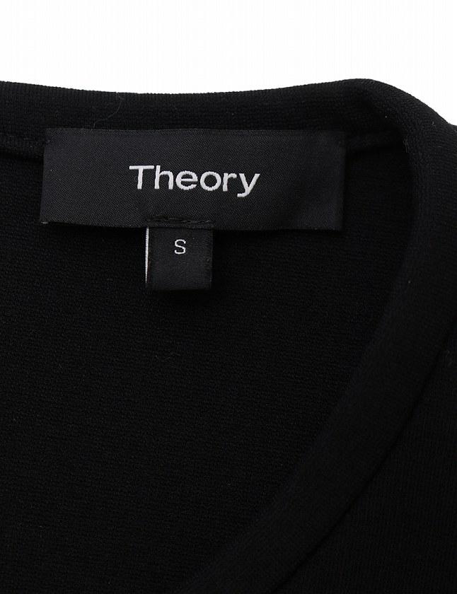 セオリー theory ワンピース 黒 ブラック 半袖 ミニ丈 無地 S レーヨン ナイロン レディース