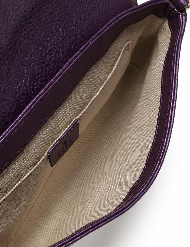 グッチ GUCCI ショルダーバッグ クラッチバッグ チェーン 紫 パープル シルバー レザー 268748 保存袋付き 2WAY レディース